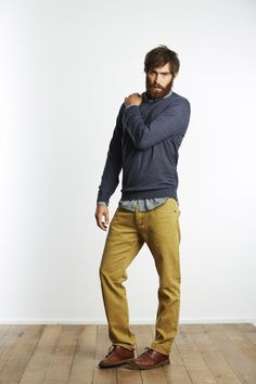 layered shirts/light sweaters for men. colored pants or chords if he's up for it. great shoes!