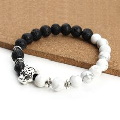 Fashion Natural Stone Bracelet Bangle Leopard Head White Bead Lava Beads Energy Yoga Stone Bracelets Fashion Bracelet Men