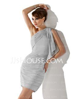 Homecoming Dresses - $129.99 - Sheath One-Shoulder Short/Mini Chiffon Homecoming Dresses With Ruffle (022011181) http://jjshouse.com/Sheath-One-Shoulder-Short-Mini-Chiffon-Homecoming-Dresses-With-Ruffle-022011181-g11181