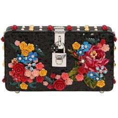 Dolce & Gabbana Women Embroidered Sequins Clutch ($4,125) ❤ liked on Polyvore featuring bags, handbags, clutches, black, studded handbags, velvet purse, embroidered purse, flower handbags and dolce gabbana purses