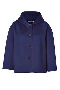 JIL SANDER  Blue Stone Hooded A-Line Jacket