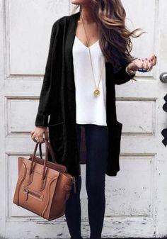 New Women Black Pockets Long Sleeve Fashion Dacron Coat