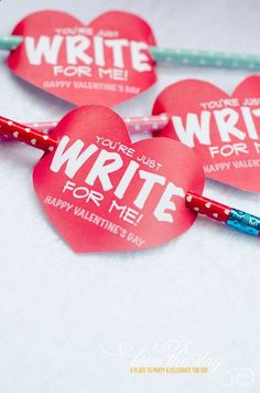 'You're Just Write For Me' Valentine Tag