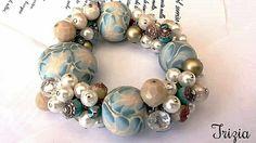 Bracciale con perle in paste polimeriche