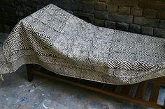 Handwoven Handmade Block-Printed Black and White Cotton Rug 3