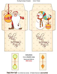 Printable Tea Bag Packet Wrapper Envelope Topper, Be Jolly Santa, Snowman, Christmas Holiday digital download by EmptyNesterCrafts on Etsy