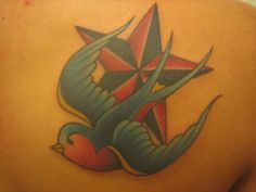 Nautical Star and Swallow tattoo