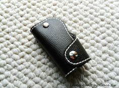 100% hand stitched handmade super dark brown cowhide leather key purse/ holder/ case