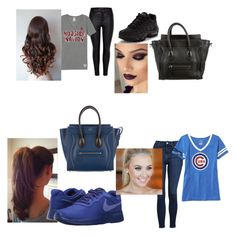 """""""2 Sport Outfits"""" by purplegoldwolf ❤ liked on Polyvore featuring Topshop, Victoria's Secret, Old Navy, NIKE and CÉLINE"""