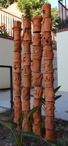 ceramic garden totem via google search  I am going to make these with 8th grade students.  I am looking for other groups who would like to trade pictures of our interpretation of this project as part of global learning