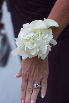 Hydrangea Wrist Corsage for mother of the bride and groom