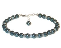 TAHITIAN TEAL Pearl Bracelet Sterling Silver Bridesmaid Bridal Swarovski Elements by CharminglyYoursToo on Etsy