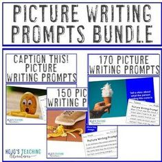 Picture Writing Prompts Distance Learning in Google Slides BUNDLE | 2nd, 3rd, 4th, 5th, 6th, 7th, or 8th grade - upper elementary or middle school Picture Writing Prompts, Writing Lessons, Writing Skills, Writing Ideas, Writing Activities, Creative Writing, 5th Grade Classroom, Middle School Classroom, Special Education Classroom