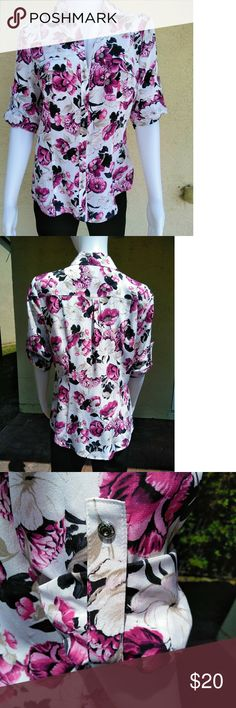 WHBM Silk Blouse size 6 Floral silk blouse from White House Black Market.   Size 6. Armpit to armpit is 19.5''. Top of shoulder to bottom of blouse is 23''.  Excellent condition with no rips, stains or holes.  Accepting reasonable offers on this beautiful silk blouse.  Item # 688 (for my reference). White House Black Market Tops Blouses