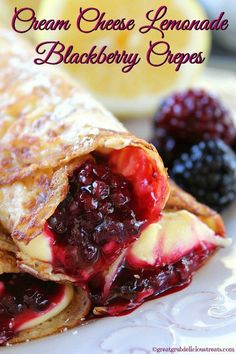 Crepes are so delicious and these cream cheese lemonade blackberry crepes are super delish too! If you are a lover of lemon, and you are a lover of blackberries, then you are going to love these crepes. Easy Crepe Recipe, Crepe Recipes, Cream Cheese Lemonade Pie, Doce Banana, Waffles, Pancakes, Dessert Crepes, Dinner Crepes, Crepes Filling