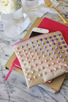 DIY ombre studded pouch