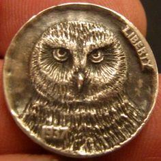 GORDON RAISTRICK HOBO NICKEL - OWL - 1937 BUFFALO NICKEL Hobo Nickel, Buffalo, Coins, Owl, Carving, Rooms, Owls, Wood Carvings, Sculptures