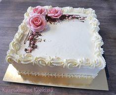 Kääpiölinnan köökissä: Mansikka-suklaakakku ♥ Cake Decorating Designs, Easy Cake Decorating, Cake Decorating Techniques, Cake Designs, No Bake Desserts, Dessert Recipes, Buttercream Birthday Cake, Cake Drawing, Wedding Anniversary Cakes