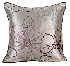 Floral Throw Pillows Cover 16x16 Light Grey
