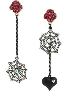 Betsey Johnson Jewelry CREEPSHOW SPIDER WEB MISMATCH EARRINGS, Bellabacci