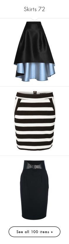 """Skirts 72"" by singlemom ❤ liked on Polyvore featuring skirts, gonne, юбки, inverted pleat skirt, mullet skirt, hi low skirt, hi lo skirt, short front long back skirt, black and zipper slit skirt"