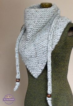 Knit Triangle Scarf Grey Marble or YOUR COLOR CHOICE Knitted Bandana Scarf Triangle Cowl Triangle Shawl Kerchief Neckwarmer Fall Fashion by BoPeepsBonnets, $48.00