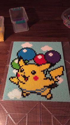 Flying pikachu perler portrait