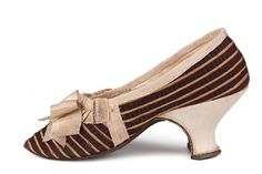 Striped silk Louis heel shoes, decorated with a bow on the vamp.  France. C. 1750s