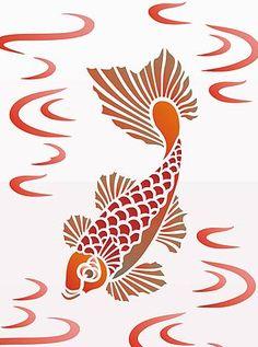 Koi carp stencils fish mural stencils stenciles for Koi fish stencil