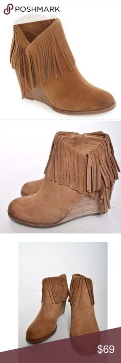 Lucky Brand Yachin Fringe Wedge Boots Booties 7.5 Boots are new but have some wear from being tried on. Women's size 7.5 Lucky Brand Shoes Ankle Boots & Booties