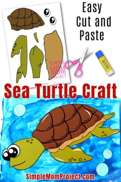 Sea Creatures Crafts, Sea Animal Crafts, Animal Crafts For Kids, Easy Crafts For Kids, Crafts To Do, Printable Crafts, Free Printables, Turtle Crafts, Crafts With Pictures