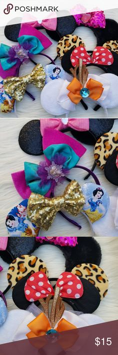 Minnie Mouse Headband Bundle (: Disney Minnie Mouse Ears Headband Bundle. This listing is for all 7 (: As seen in the pictures, so please review my pictures carefully to form your own opinion about the items condition and wear Some of the ears have some wear but still in good pre owned condition. Selling as is! Comes from a smoke & pet free home. Don't forget to check out my closet for more Disney items up for sale. Keep in mind there are seller fees so pricing is pretty firm. Thank you ♡…