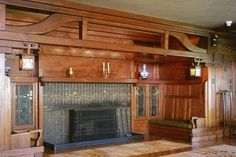 wow! craftsman fireplace with seating.