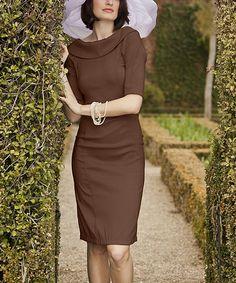 Look what I found on #zulily! Brown Royal Wedding Fold-Over Collar Dress #zulilyfinds