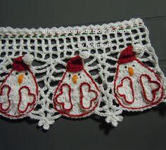 """OFICINA DO BARRADO: Croche - Uma Galinha """"Noel"""" para Barrar ..."""