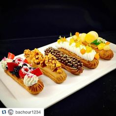 "#Repost @bachour1234 with @repostapp ""Eclair"" Berries and Cream/ Caramel and Popcorn/ Chocolate / Coconut and Mango / Passion Fruit"
