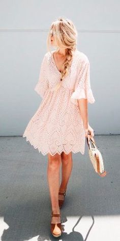 summer wedding guest dresses blush short v neckline lace with sleeves hannah westby for spring #falldresses