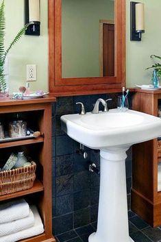 How To Make the Most of a Bathroom with a Pedestal Sink Pedestal Sink Storage, Sink Organizer, Sink Accessories, Diy Storage, Bathroom, Home Decor, Washroom, Bath Room, Interior Design