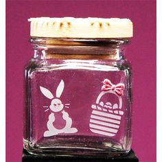 Make this cute glass etched jelly bean jar with Armour Products new Easter stencil...It's re-usable! Available at: www.etchworld.com item # 21-1651.