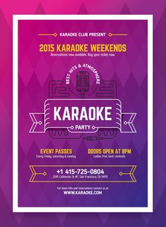 Karaoke Party Poster Template Vector EPS - A2 (594×420 mm; 23.4×16.5 in + 0.25 bleeds). Karaoke Party, Party Poster, Saturday Sunday, Fun Cocktails, Templates, Role Models, Template, Western Food, Patterns