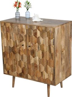 This gorgeous hexagonal, light mango wood cabinet will be the spotlight of any room in an contemporary or traditional home.