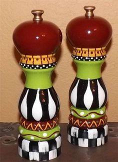 Mackenzie Childs style Whimsical Salt Pepper Mill Grinder Hand Painted by Mackenzie Kid