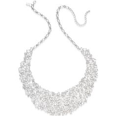 kate spade new york Silver-Tone Crystal Statement Necklace ($348) ❤ liked on Polyvore featuring jewelry, necklaces, silver, statement necklace, bib statement necklace, silvertone necklace, crystal jewelry and kate spade