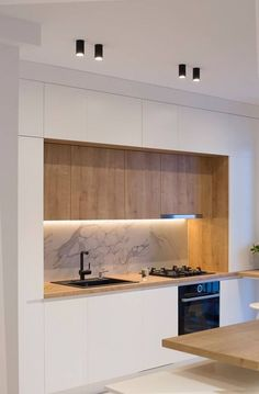 Minimal kitchen design – diy kitchen decor on a budget Minimal Kitchen Design, Kitchen Room Design, Contemporary Kitchen Design, Kitchen Cabinet Design, Minimalist Kitchen, Home Decor Kitchen, Interior Design Kitchen, Home Kitchens, Kitchen Layout
