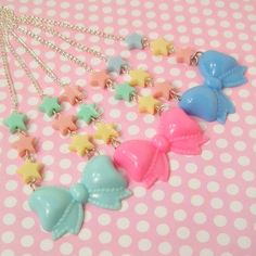 Kawaii Fairy Kei Lolita Pastel Star Bow Necklace by blacktulipshop