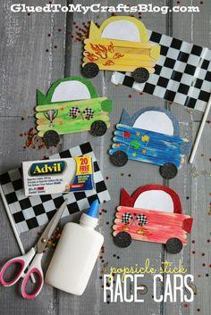 Popsicle Stick Race Cars - Kid Craft #RaceDayRelief #ad