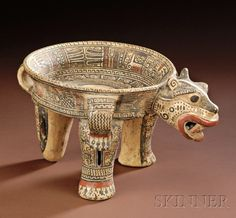 Pre-Columbian Polychrome Pottery Jaguar Tripod Bowl | Sale Number 2506, Lot Number 34 | Skinner Auctioneers