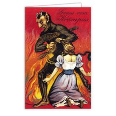 Rihanna's favorite Krampus Christmas Card. Don't bore your loved ones and co-workers with some store bought mass produced greeting card. These cards are professionally printed on matte greeting card s
