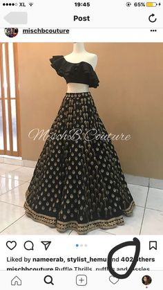 Ruffle Thrills, lehenga by mischb couture Indian Lehenga, Indian Gowns, Indian Attire, Indian Outfits, Pakistani Outfits, Indian Wear, Half Saree Designs, Lehenga Designs, Blouse Designs