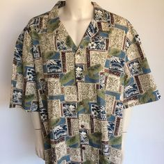 Royal Creations Hawaiian Aloha Shirt Mens 5XL Tapa Print Sea Turtles Made #Hawaii #RoyalHawaiianCreations #seaturtles #ButtonFrontHawaiianAloha #Casual #tapaprint #hawaiian